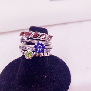 Flower Stackable Ring with Gemstones